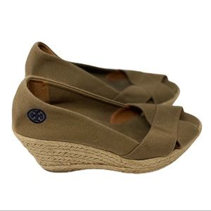 Tory Burch Filipa canvas peep toe espadrille wedge